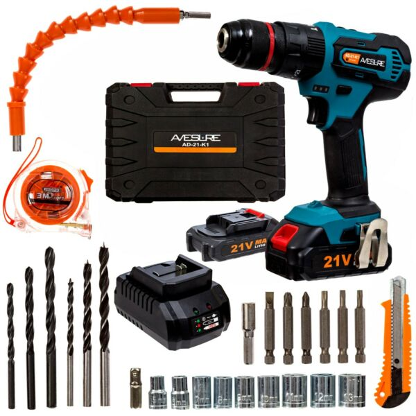 AVESURE 21V Electric Cordless Power Drill  Driver with Bits Set