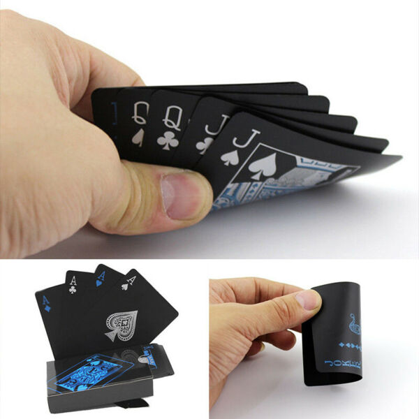 New Black Poker Playing Cards PVC Plastic High Quality Durable Waterproof Deck k