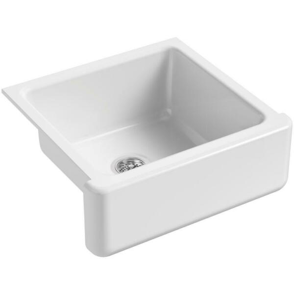KOHLER Whitehaven Farmhouse Apron-Front Cast Iron 24 in Single Bowl Kitchen Sink