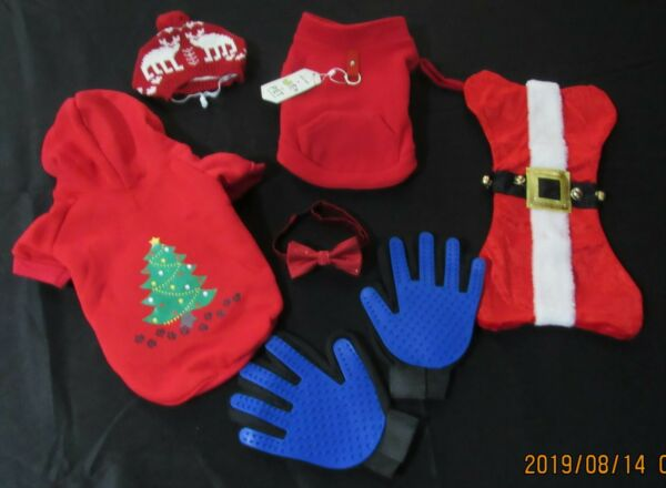 Dog lot size M christmas sweater light up stocking hat and grooming gloves. $25.00