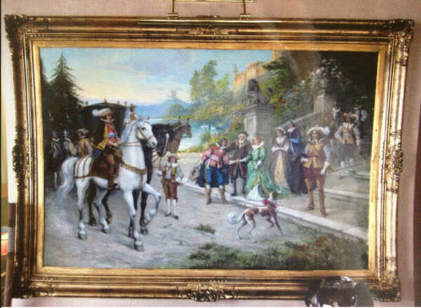 Superb Antique French oil on canvas painting 18th cent - hunting scene - giant!