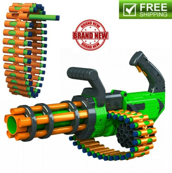 Kids Toy Gun Motorized Automatic Rifle Blaster w 30 Round Belt & 30 Foam Darts