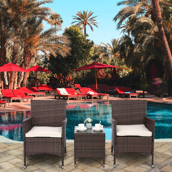 3pcs Outdoor Patio Bistro Set PE Rattan Wicker Furniture Conversation W Cushion $127.99