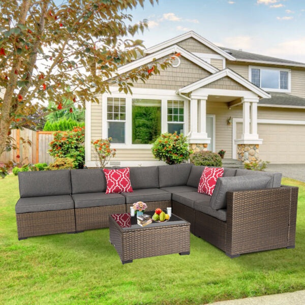 7 PCs Outdoor Furniture Wicker Sectional Sofa with 2 Pillows and Tea Table Patio $585.99