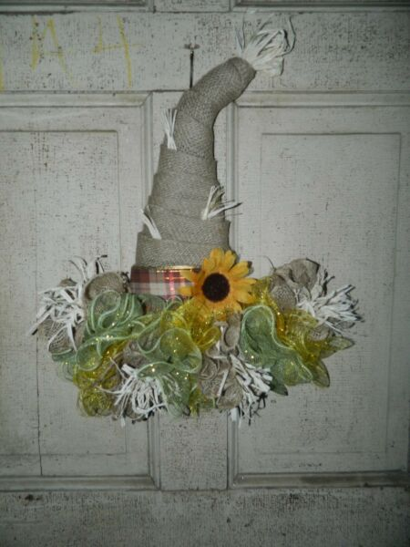 Fall Scarecrow Burlap Hat Door Decor Wreath