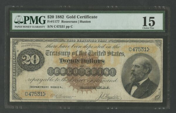 FR1177 $20 1882 GOLD NOTE LARGE BROWN SEAL PMG 15 CHOICE FINE 34 KNOWN WLM8713