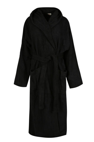Black Luxury Hooded Bath Robe Men 100% Terry Cotton Toweling Dressing Gown Spa