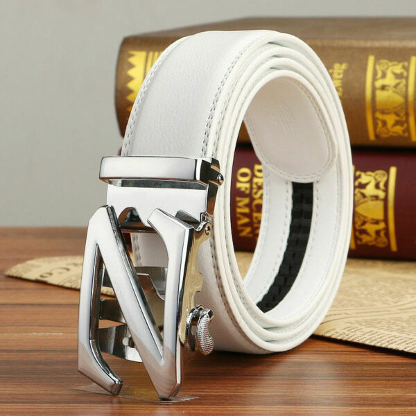 Mens White Belts Genuine Leather Belt Letter Z Automatic Buckle Waistband Strap