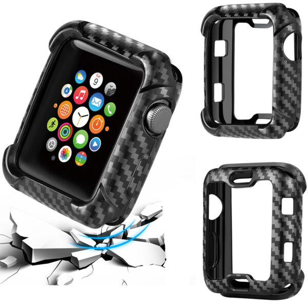 Shock proof Carbon Watch Case For Apple Watch 38mm 40mm 42mm 44mm Cover Bumper $3.67