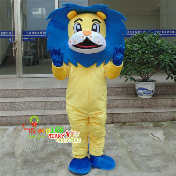 Blue Lion Costumes King Of Forest The Lion Suit Mascot Party Dress Unisex Adults $183.99