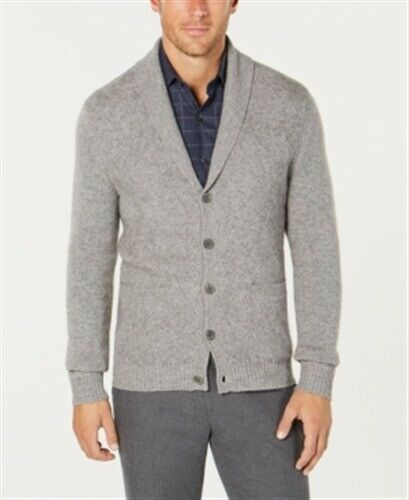 Tasso Elba Pure Cashmere Cardigan Grey Heather Mens Small New