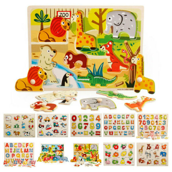 Kids Toddler Jigsaw Puzzle Baby Developmental Wooden Game Toy Funny Education f