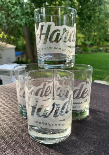 """Hardee's Fast Food """"Charbroiled Thick Burger"""" Set Of 4 Etched Rock Glasses Rare"""
