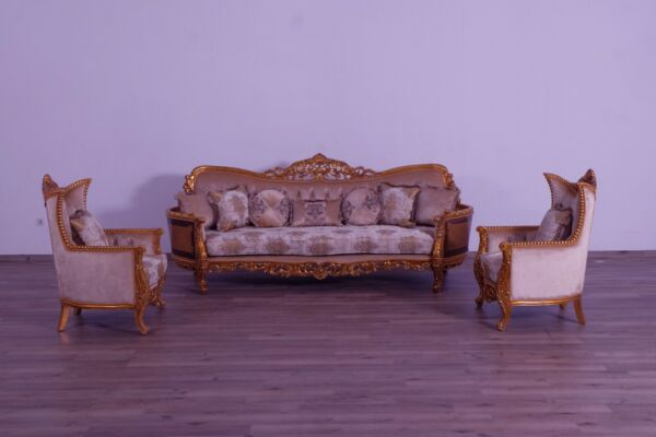 3Pc Sofa & Chair Gold Fabric Hand made & Carved Formal Living Room Furniture Set
