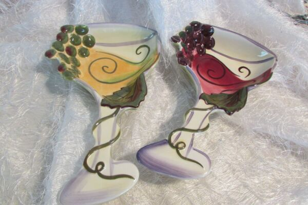 2 CLAY ART wine glass shaped ceramic dishes great for hors d#x27;oeuvres hallA $20.00