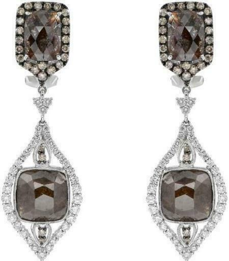 EXTRA LARGE 18.57CT WHITE & MOCHA DIAMOND 18KT WHITE GOLD LEAF HANGING EARRINGS