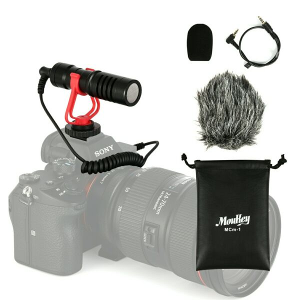 MouKey Video Microphone Mic & Windshield Foam Cover for Nikon/Canon DSLR Camera
