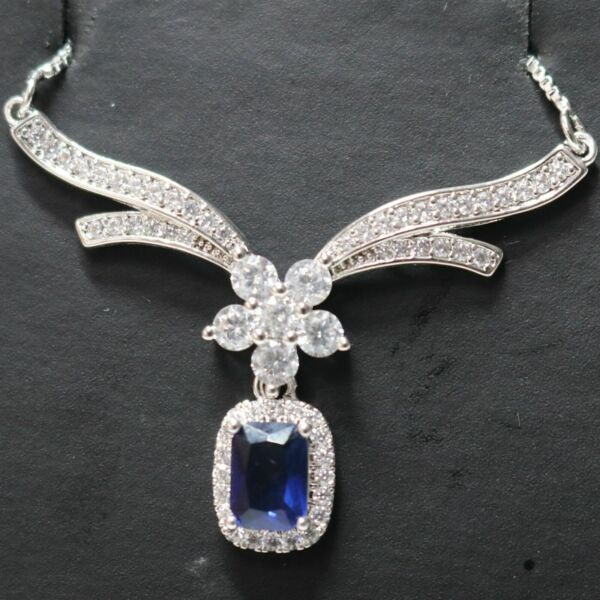 3.00 Ct Radiant Blue Sapphire Necklace Women Jewelry in 925 Sterling Silver New