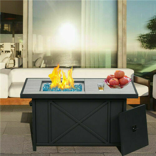 BALI OUTDOORS 42*24 Rectangular Gas Fire Pit Table Propane wihth Blue glass