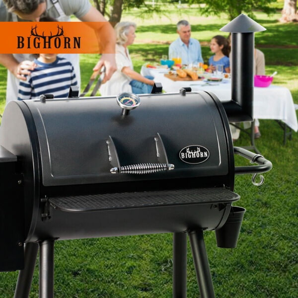 6 in 1 cooking Pellet Grill Wood BBQ Grill Smoker Auto Temperature Control Black