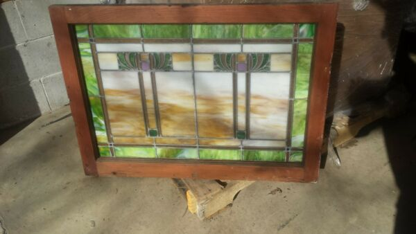 Beautiful Antique Leaded Stained Glass Window Original Wood Frame 25