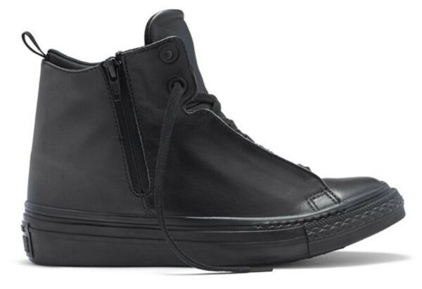 NEW CONVERSE CHUCK TAYLOR ALL STAR BLACK LEATHER MID WEDGES SNEAKER 553326C SZ 7