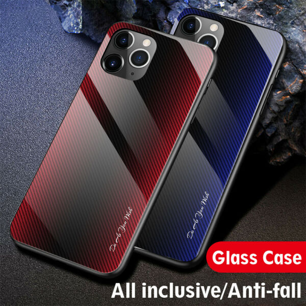 Case For iPhone 12 11 Pro Max Xs Xr 7 8 Luxury Tempered Glass Hard Phone Cover $7.49