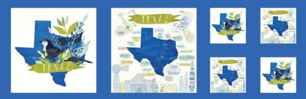 Moda Quilt Fabric Desert Song Texas Panel 13½quot; x 44quot; Bluebonnet Mockingbird blue