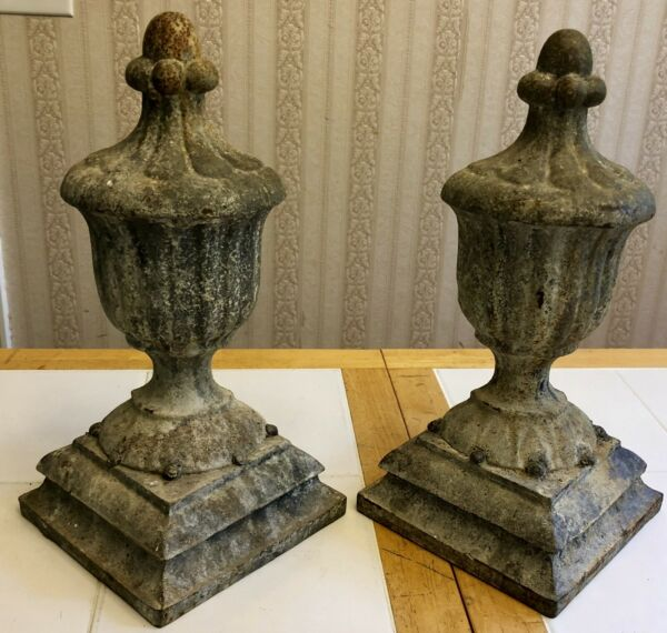"2 Cast Iron Andirons Fireplace Vintage Firedogs Vase Urn Decorative 15"" 13 Lbs"
