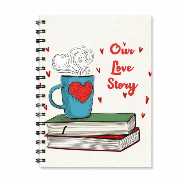 Our Love Story Wire Bound Spiral Notebook A5 Print Notepad Valentines Day Gift