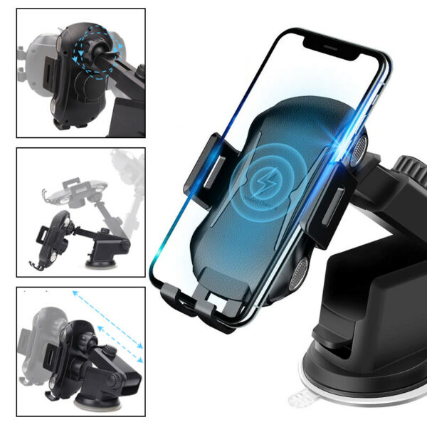 10W Qi Automatic Clamping Car Wireless Charger Holder Mount For iPhone Samsung