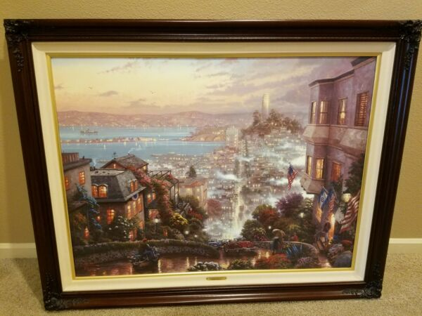 Thomas Kinkade San Francisco Lombard Street 30 x 40 AN Canvas w REMARQUE