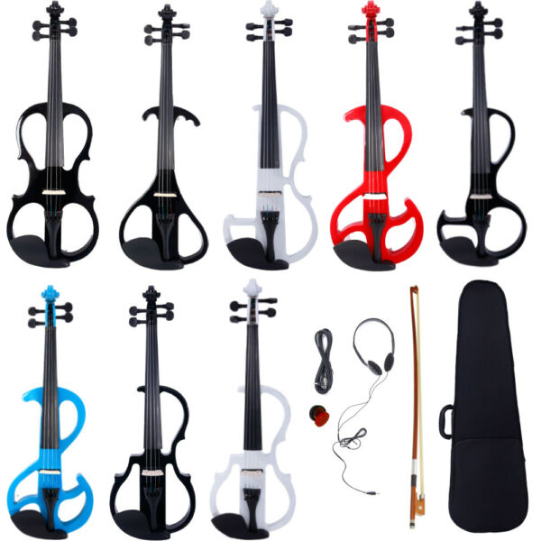 New 4 4 Electric Silent Violin Case Bow Rosin Headphone $54.99