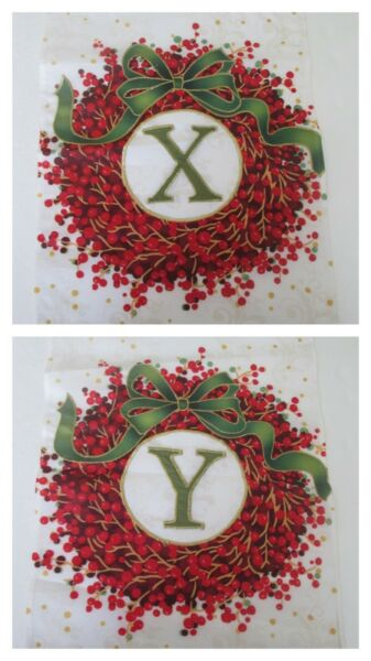 Christmas Flag Monogram Wreath  X  or Y  12x18 Pick Letter Small Winter New