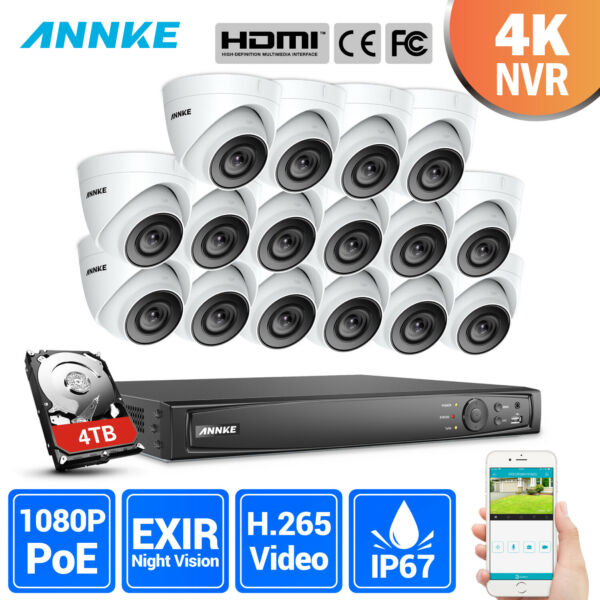 ANNKE 8MP 4816CH 4K CCTV NVR 2MP Dome Security Camera POE System Outdoor Video