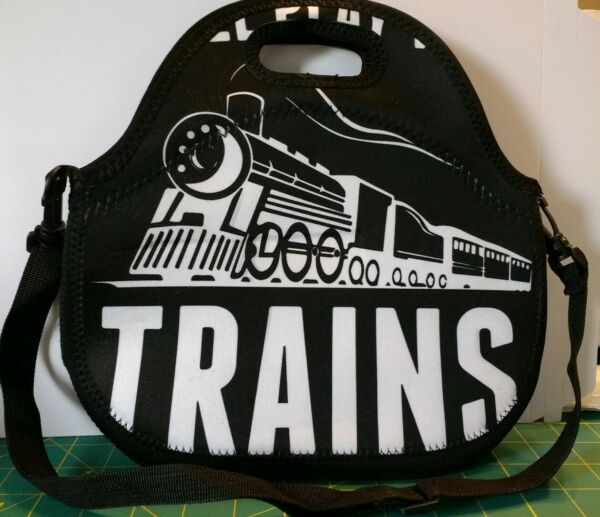 Neoprene TRAINS Lunch BagTote with Removable Shoulder Strap BlackWhite Design