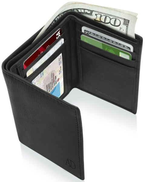 Real Leather Slim Wallets For Men Trifold Mens Wallet W ID Window RFID Blocking