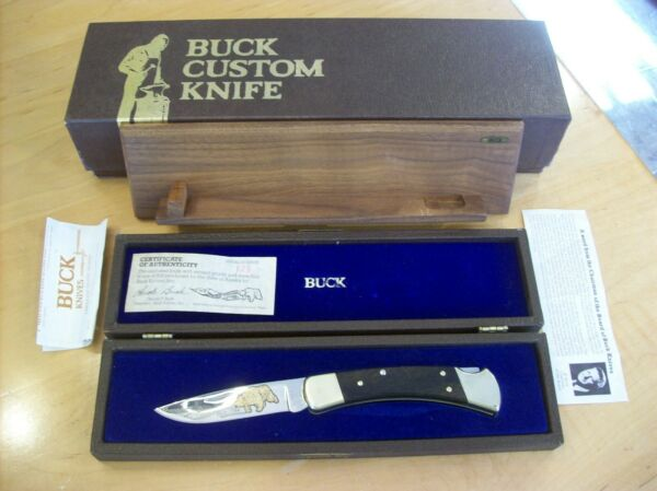 VINTAGE LIMITED EDITION BUCK KNIFE 110 426 Blade Gold Etch Alaskan Grizzly 1984