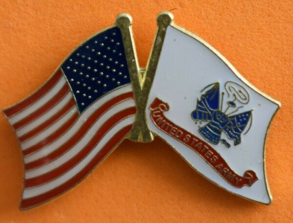US ARMY lapel pin  beside a  American flag Very Nice collector pin New!