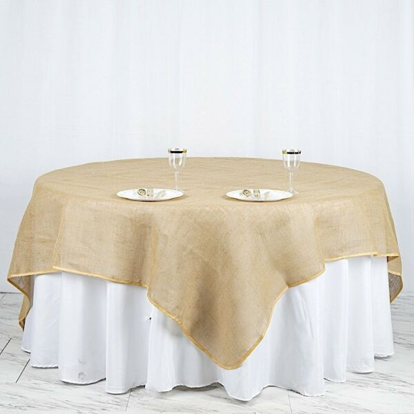 90x90quot; Natural Brown BURLAP SQUARE TABLE OVERLAY Wedding Party Tradeshow Linens