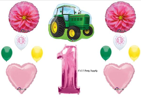 1st First BIRTHDAY PARTY BALLOONS John Tractor Deere like Decorations Supplies