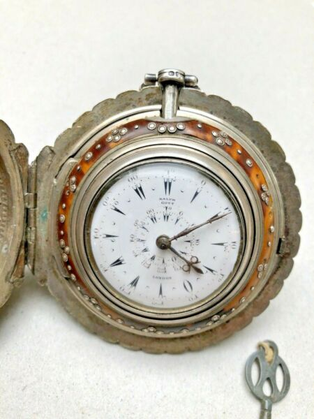 RALPH GOUT LONDON SILVER VERGE FUSEE POCKET WATCH FOR THE TURKISH MARKET 19th C.