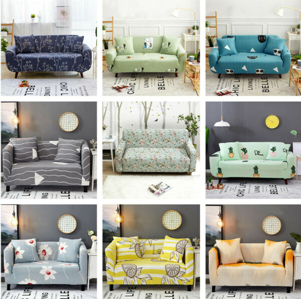 12 3 4 Seater Washable Stretch Fabric Sofa Cover Sectional Couch Cover Slipcover $18.99