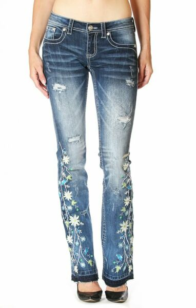 Grace in LA Women's Distressed Floral Embroidered Bootcut Stretch Jeans w Rips