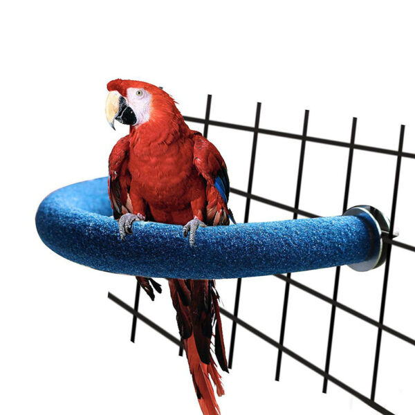 JI_ Parrot Pet U Shape Bar Stand Perch Grinding Claw Toy Bird Supply Cage Deco