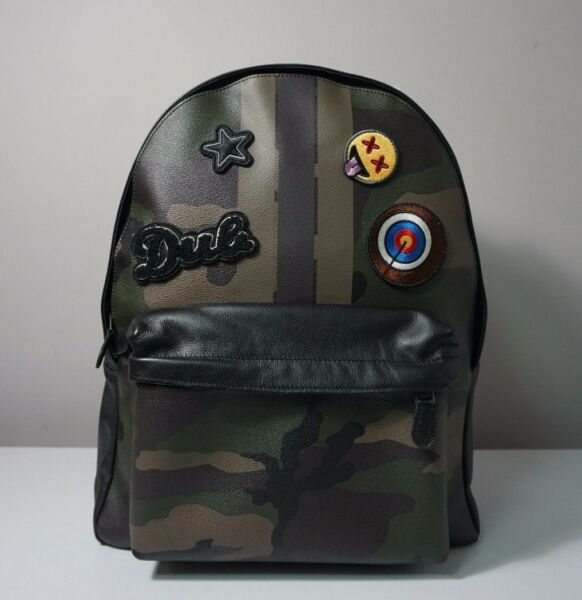 Coach Charles Varsity Dark Green Camo Patches Backpack F59906 $350.00