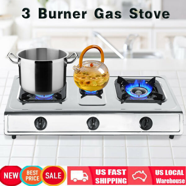 3 Burner Portable Propane Gas Stove Outdoor Camping Cooking RV Kitchen Cooktop