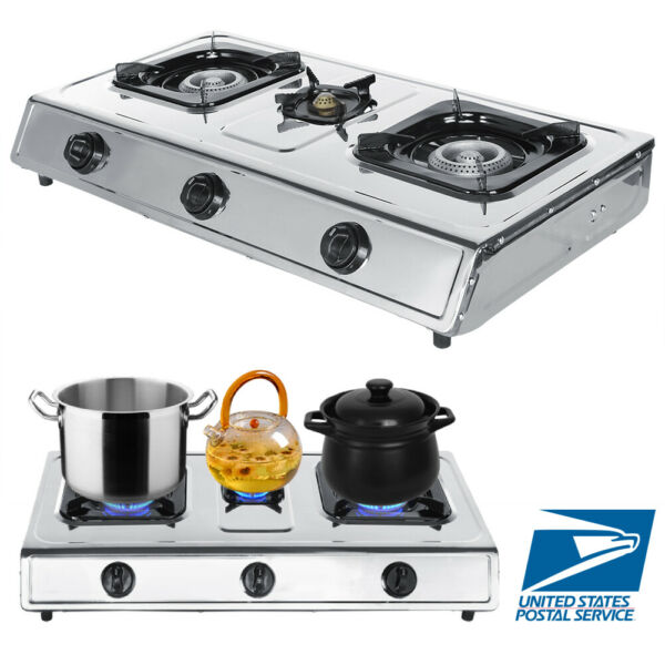 Portable 3 Burner Stainless Steel Propane LPG Gas Stove Outdoor Camping Cooker