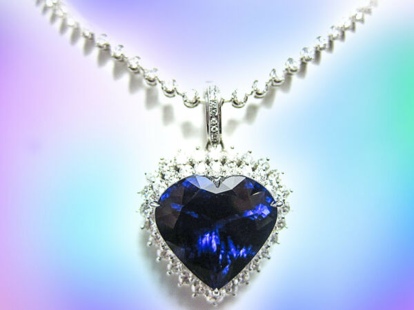 HEART SHAPE TANZANITE PENDANT NECKLACE DIAMOND ROUND BRILLIANT SHAPE CHAIN