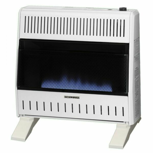 ProCom Dual Fuel Ventless Blue Flame Gas Heater With Blower and Base - 30K BTU